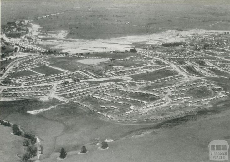 Morwell township with newly developed coal-fields in the background, 1955