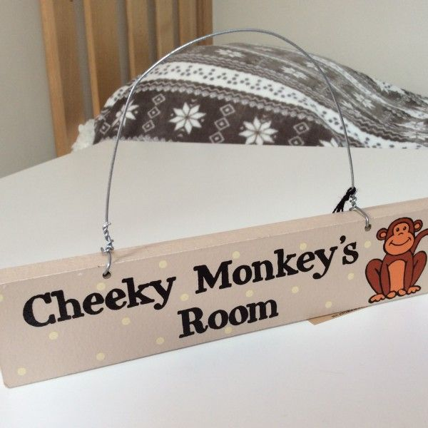 A Cheeky Monkeys Room Kids Wall Door Sign Childrens Bedroom Accessories Wooden Wall Sign