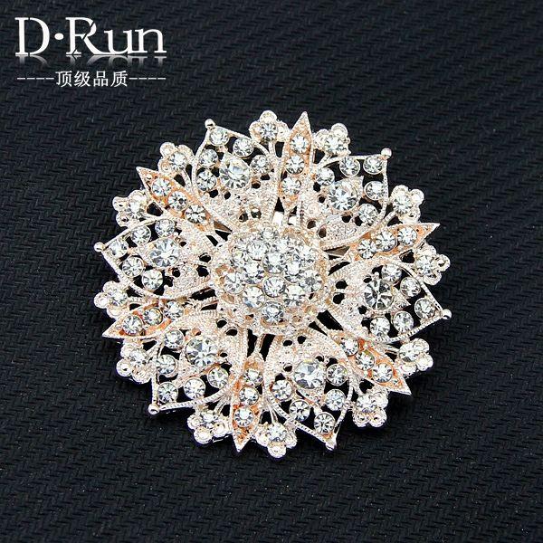 Or rose de grande taille strass cristal bouquet de mariage pour la mariée broches broches en strass 14,7 dollards
