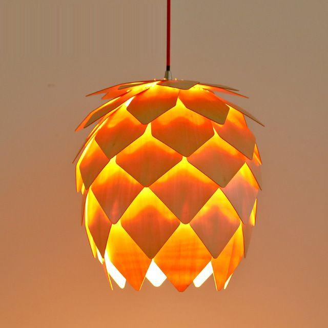 1 set 15.5 Inch 4 Kleur Creative Pijnappelklier Vorm Art Deco Hout E27 Hanglamp Voor Art Woondecoratie Droplight LDP009M