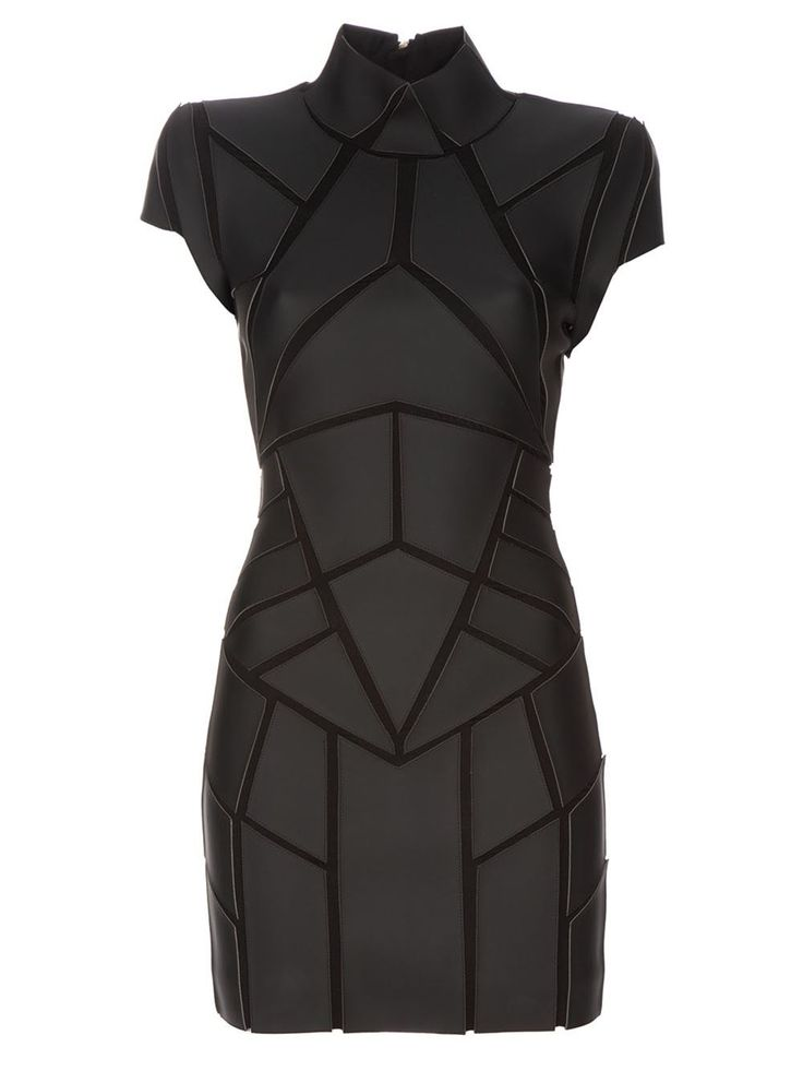 Black leather look dress - Gareth Pugh - geometric panels, funnel neck, structured shoulders, tight fit. female women's cyberpunk armor clothes clothing equipment gear magic item | Create your own roleplaying game material w/ RPG Bard: www.rpgbard.com | Writing inspiration for Dungeons and Dragons DND D&D Pathfinder PFRPG Warhammer 40k Star Wars Shadowrun Call of Cthulhu Lord of the Rings LoTR + d20 fantasy science fiction scifi horror design | Not Trusty Sword art: click artwork for source