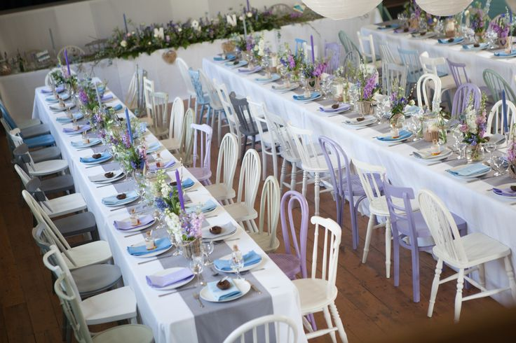 English Country Garden Wedding Theme used a full mix of colours, white, blue, grey and purple.  What a pretty set up at Port Isaac in Cornwall