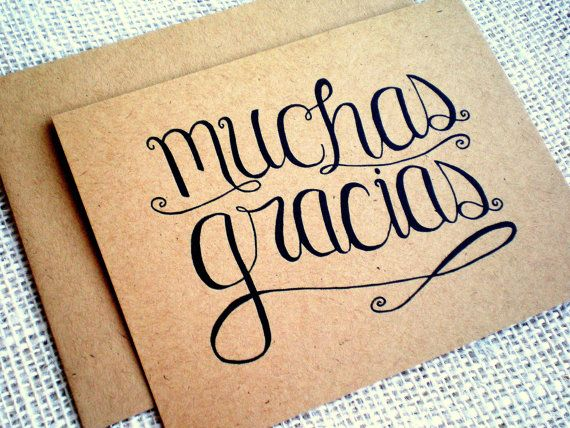 Muchas Gracias Thank You Cards - Set of 10 Hand Lettered Spanish Language Thank You Notes with Envelopes - Kraft Card and Envelope
