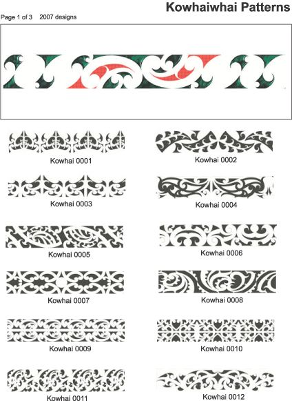 kowhaiwhai design and tattoo pattern