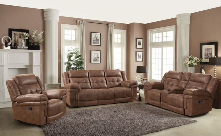 Kingston Contemporary Reclining Sofa, Glider Reclining Loveseat w/ Storage Console and Glider Reclining Chair,3-Piece Set
