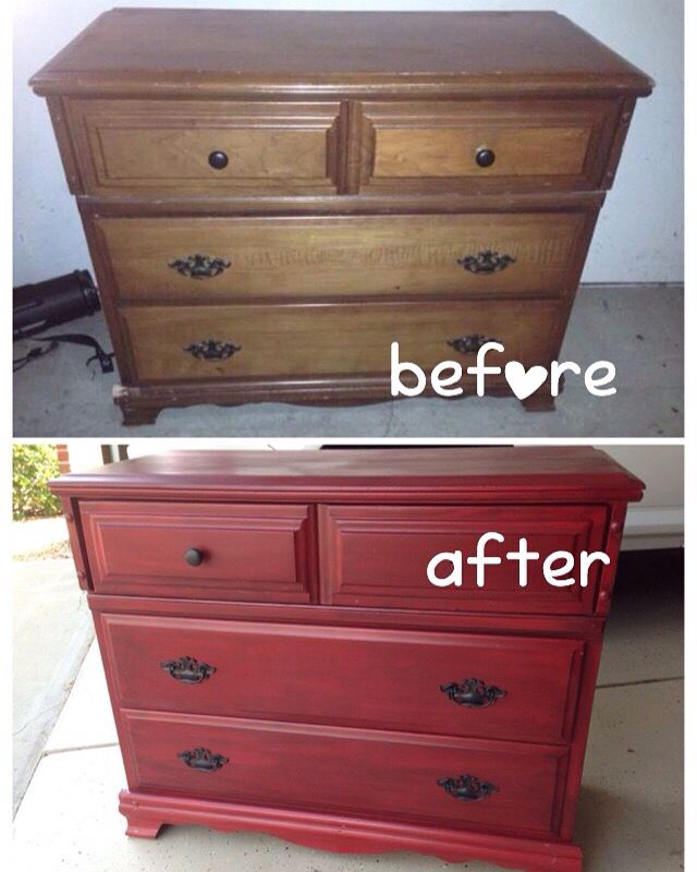 DIY, Before And After Chest Of Drawers That Will Be Used As A Tv Stand. Red  DresserDresser ...