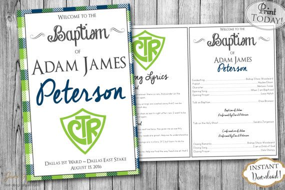 INSTANT DOWNLOAD  LDS Boy Baptism Program  Fully by JanePaperie