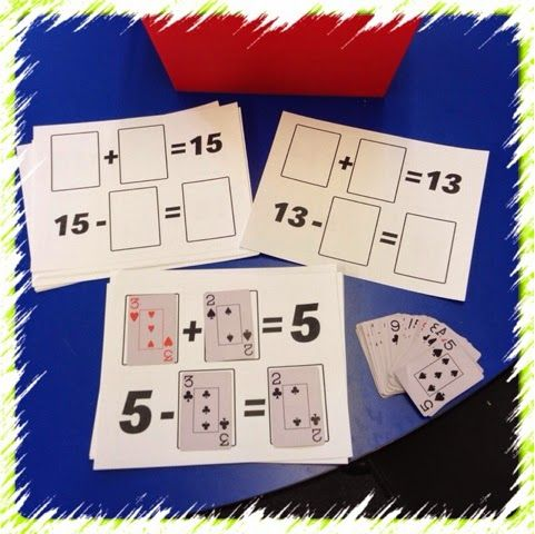 "Discovery Tub Contents: Playing card mats (printed from First Grade School Box blog), Decks of cards (I included some with numerals only/no ""dots"" to count)  Students at this tub can: find cards to make the number sentence true, work with ""fact families""/related facts/turnaround facts"