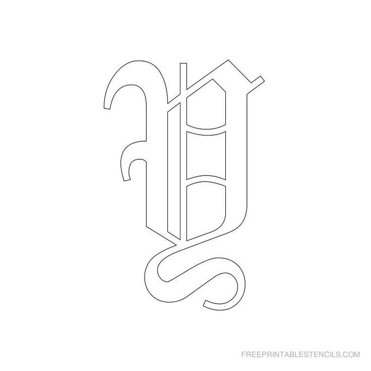 Printable Old English Alphabet Stencil Y