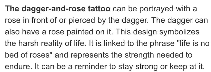 Dagger and rose tattoo meaning