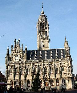 Old Town Hall at Middelburg, Netherlands, this is one of the oldest cities in the Netherlands, dating from the 8th century. My ancestor, David Demarest (many spellings), lived there from 1643 to 1651