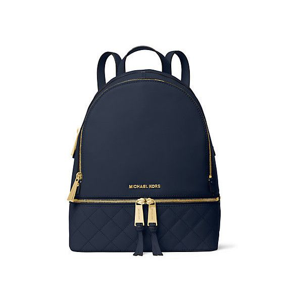 Michael Kors Rhea Medium Quilted-Leather Backpack, Navy(Blue) ($358) ❤ liked on Polyvore featuring bags, backpacks, knapsack bags, michael kors, michael kors backpack, hardware bag and backpacks bags