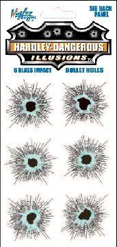 Hardley Dangerous: Glass Bullet Holes Temporaray Tattoo by Tattoo Fun. $4.95. These stick on car decals look like real bullet holes. \r\nApply in seconds and remove anytime!\r\n\r\nActual Sheet Size: 6x10 inches.