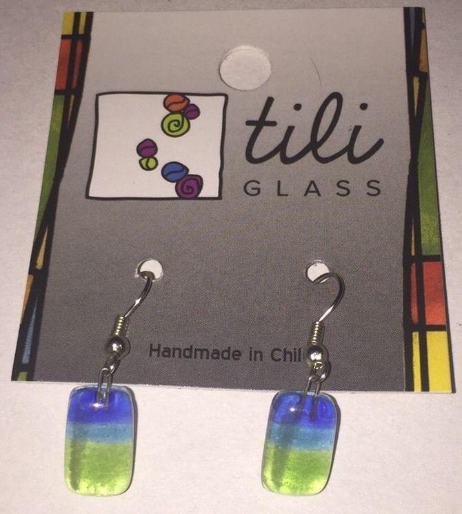 Small Fashion Drop Earrings Fused Glass Hypoallergenic Hooks Handmade Chile New #CalypsoChileglobalcrafts #DropDangle