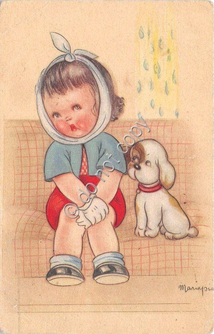 Cartolina - Postcard - Illustrata - Mariapia - Bimba con mal di denti - cane | eBay