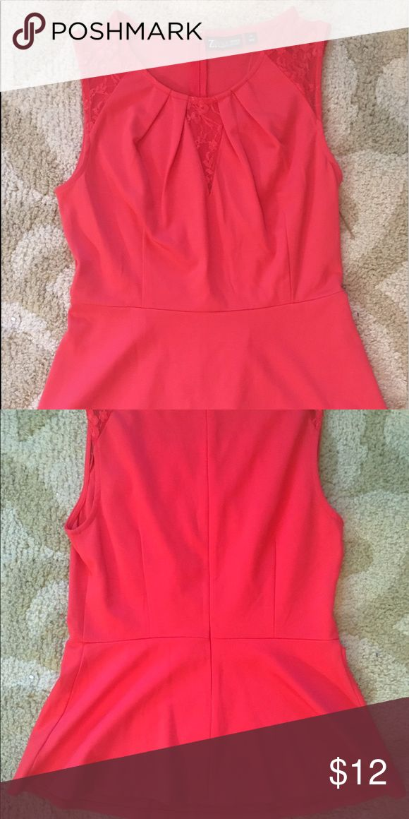 Hot Pink Peplum Top Pleated collar with lace accents. Structured Peplum top. NWT!! New York & Company Tops Blouses
