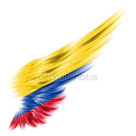 Downloaden - Vlag van colombia op abstracte vleugel met witte achtergrond — Stockbeeld #23462904