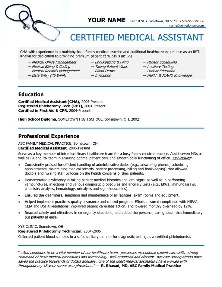 Best 25+ Medical assistant resume ideas on Pinterest Medical - examples of cna resumes