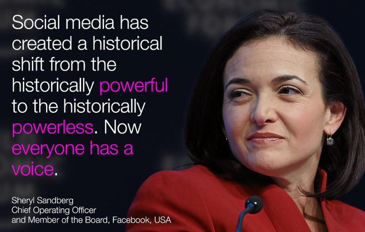 #Socialmedia has created a historical shift from the historically powerful to the historically powerless. Now everyone has a voice. - Sheryl Sandberg in #Davos at #wef15