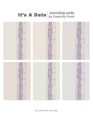 Freebie – It's A Date Journaling Cards [a free printable by Creativity Prompt]