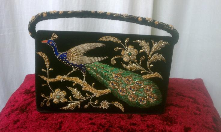 Black velvet hand stitched 3D vintage peacock purse