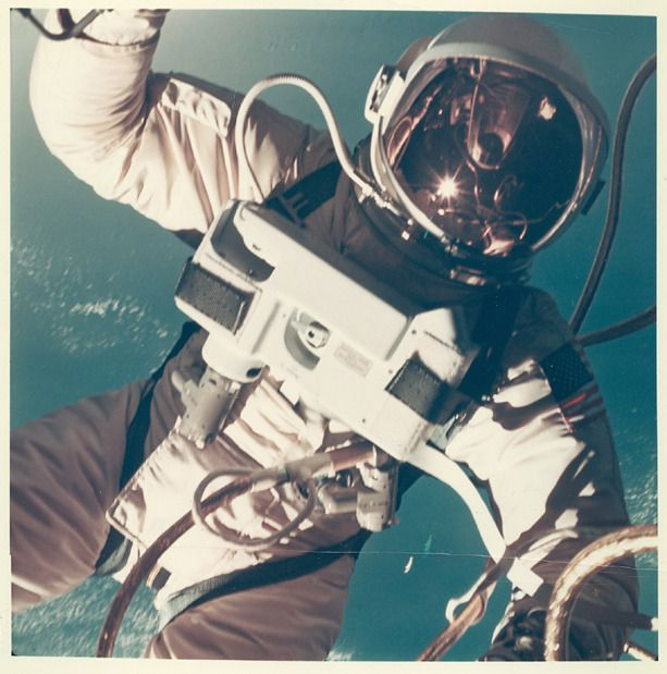 June 3, 1965 – A vintage NASA press photo shows Gemini 4 astronaut Ed White becoming the first American to walk in space. (Stellar Views)