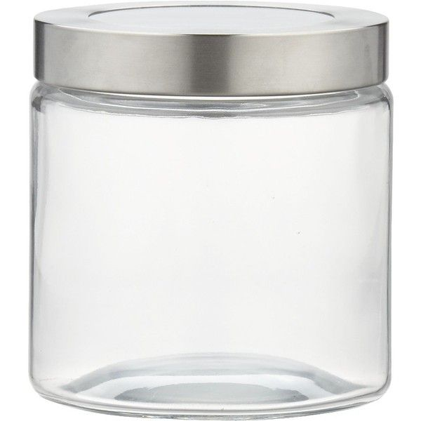 Crate & Barrel Extra Small Glass Storage Canister with Stainless Steel... (19 BRL) ❤ liked on Polyvore featuring home, kitchen & dining, food storage containers, fillers, kitchen, glass food storage containers, stainless steel storage canisters, stainless steel food storage containers and glass storage canisters