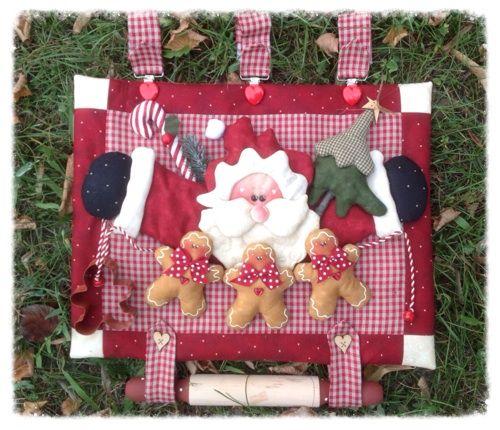 Cartamodelli Natale 2013 : Cartamodello pannello copriforno Babbo Natale