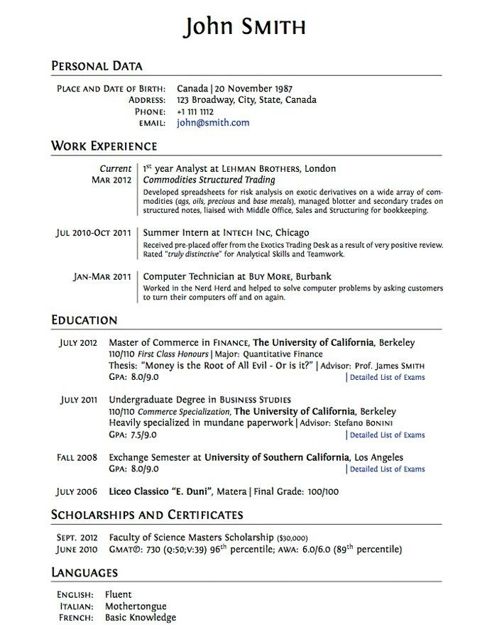 7981 best Resume Career termplate free images on Pinterest - canadian format resume