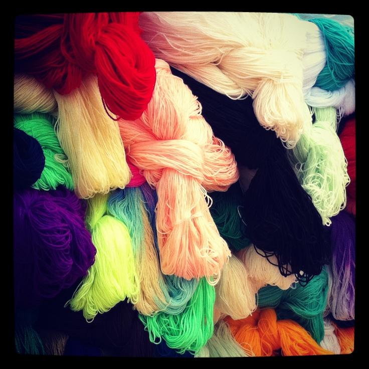 textiles and yarns at Quito Market - ecuador