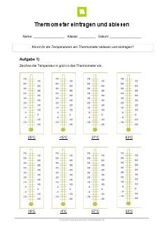 Thermometer Grundschule | Arbeitsblatt: Lernwerkstatt Temperatur Thermometer ablesen