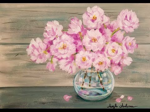 Easy Beginner Acrylic Painting Tutorial Pink Spring Flowers in Glass Vase LIVE Angela Anderson
