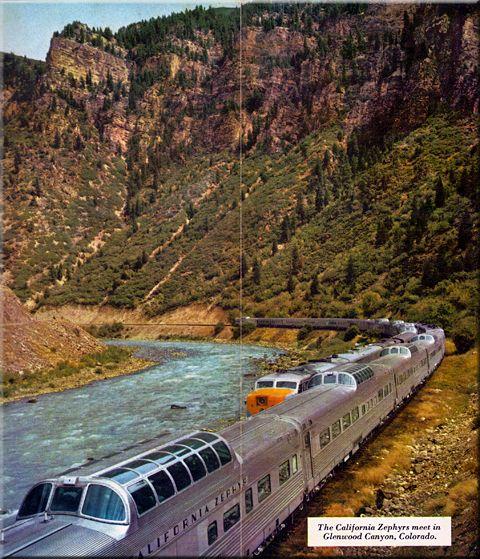 California Zephyrs meet in Glenwood Canyon Colorado.