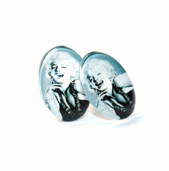 Handmade Marilyn Monroe glass cabochon earrings by IraleneJewellry, $6.50