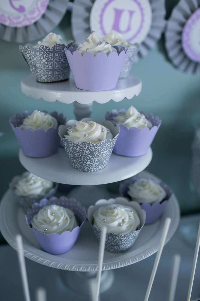 Purple Glamour Birthday Party Cupcakes!  See more party planning ideas at CatchMyParty.com!