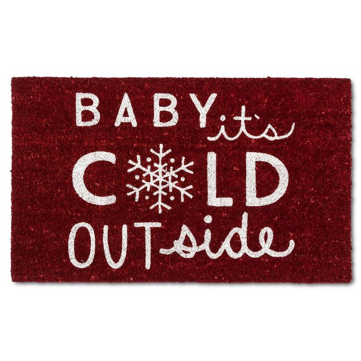 """Baby It's Cold Outside Coir Rug - Red - (1'6""""x2'6"""") - Evergreen"""