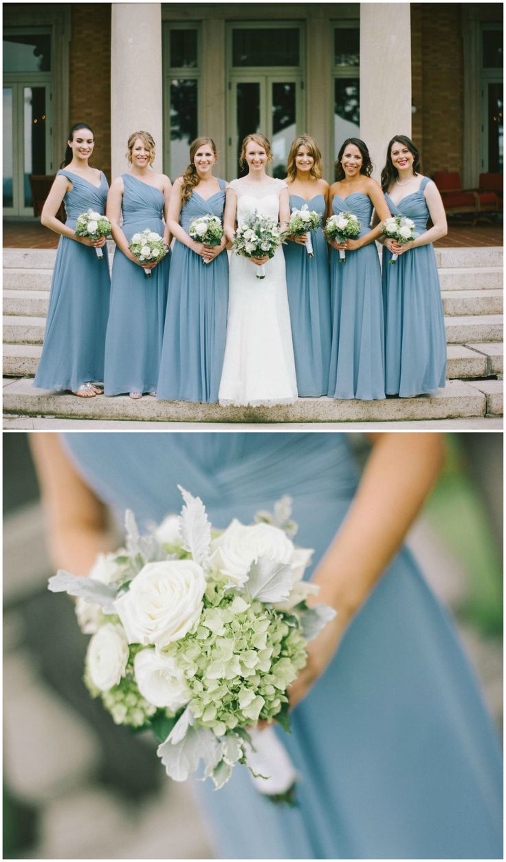 Cornflower blue bridesmaid dresses, white and light green bouquets, verying styles // Paul Francis Photography