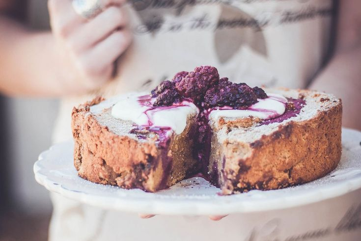 Kumara and boysenberry cake