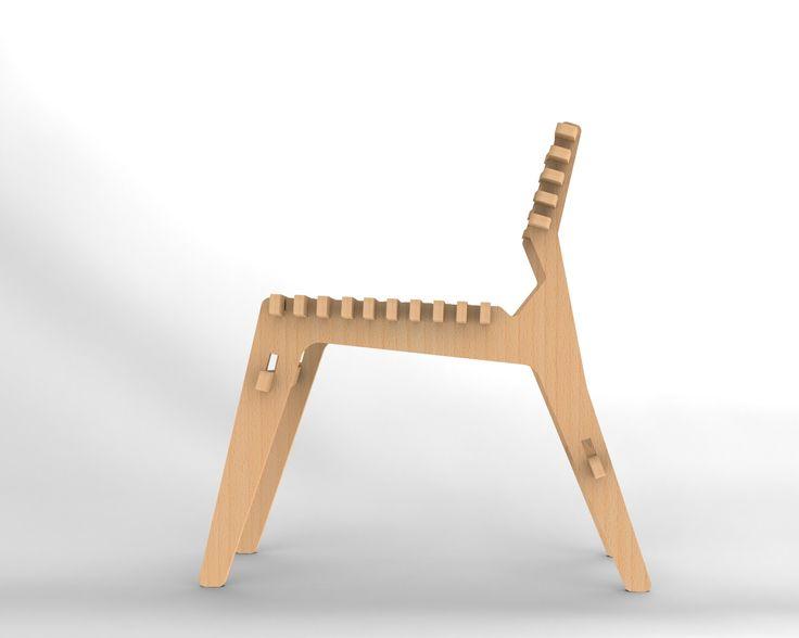 Cadeira Icó, em compensado naval com acabamento natural.