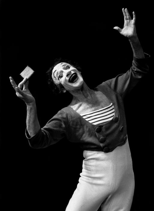 """French mime artist, Marcel Marceau, 1988. """"Music and silence combine strongly because music is done with silence, and silence is full of music."""""""