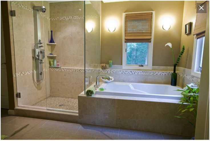 Drop In Tub With Tile Surround And Neighboring Shower Master Bathroom Makeover Shower Bath