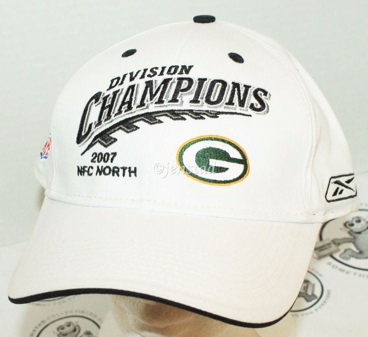 GREEN BAY PACKERS ON FIELD REEBOK NFL NFC DIVISION CHAMPION WHITE CAP HAT 2007 #Reebok #GreenBayPackers