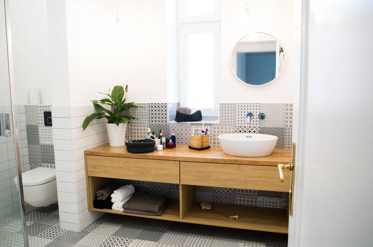bathroom, white and wood