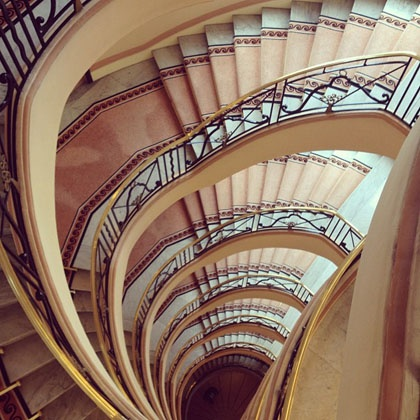 The iconic Art Deco staircase at Hotel Martinez, Cannes