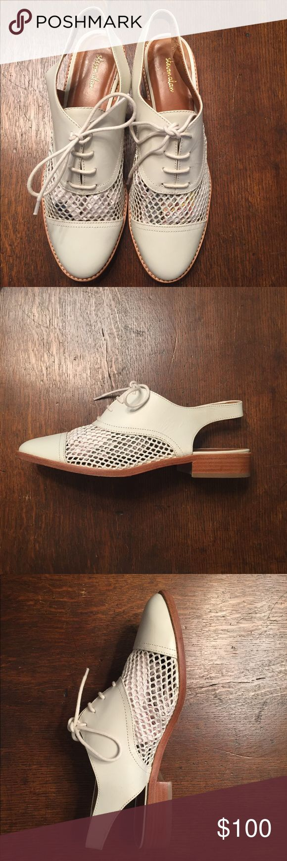 Steven Alan off white sling back oxfords sz 8B Steven Alan brand Leather and mesh egg shell sling back oxfords with laces on top.  Leather back strap and toe.  Made in Brazil. Perfect to pair with fall menswear inspired looks!  Only worn twice! Steven Alan Shoes Flats & Loafers