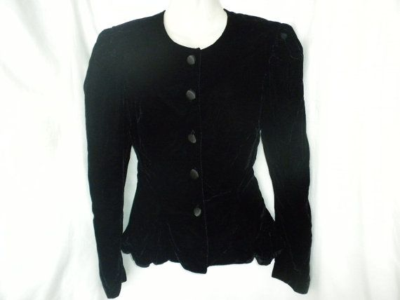 Vintage 80s Black Velvet Jacket Puff Sleeve Peplum by DJVboutique