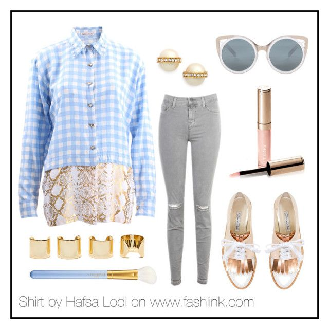 gingham python shirt by hafsa-lodi on Polyvore featuring J Brand, Oscar de la Renta, Kate Spade, Erdem, By Terry, MAC Cosmetics, Luv Aj, women's clothing, women's fashion and women