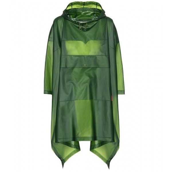Hunter Original Clear Poncho (260 CAD) ❤ liked on Polyvore featuring outerwear, jackets, green, green poncho, style poncho and clear poncho