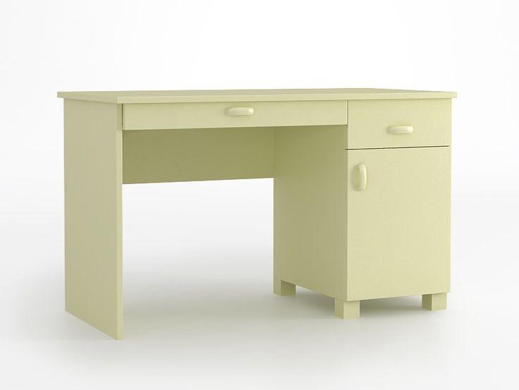 Biurko 120 o wymiarach: 749x1208x600. duży blat, zaokrąglone krawędzie blatu, biurko posiada wbudowany kontener z szufladą i zamykaną szafką na prowadnicach firmy BLUM, dodatkowa szuflada pod blatem.