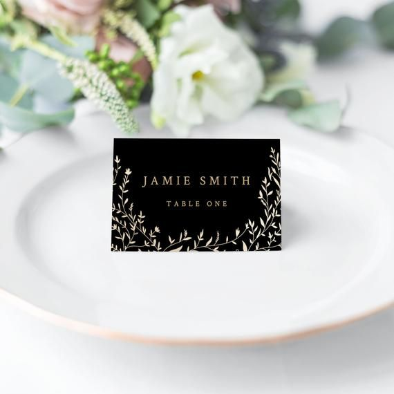 Place Card Wedding Black And Gold 2x3 Editable Instant Download Template Templett Wedding Place Cards Wedding Cards Black Wedding
